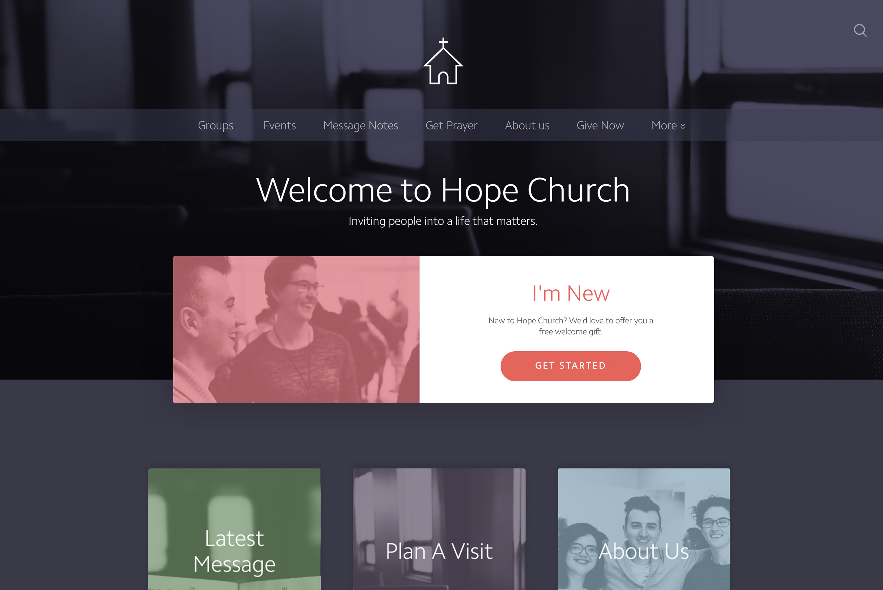 A Nucleus church website design [DARK THEME] built using photos taken on an iPhone using portrait mode