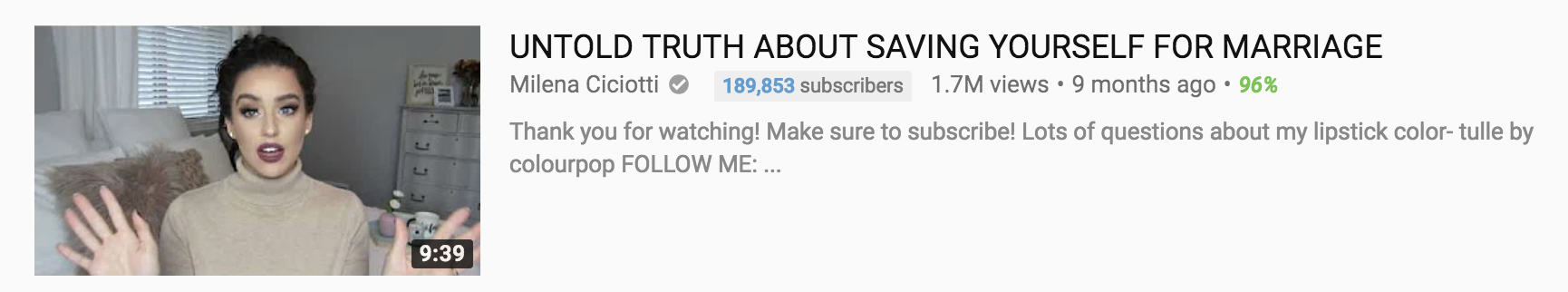 A video with close to 2 million views sharing the untold secrets of saving yourself for marriage